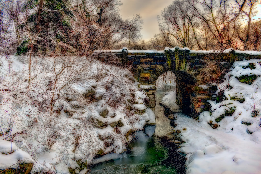 Snow-covered bridge in Central Park