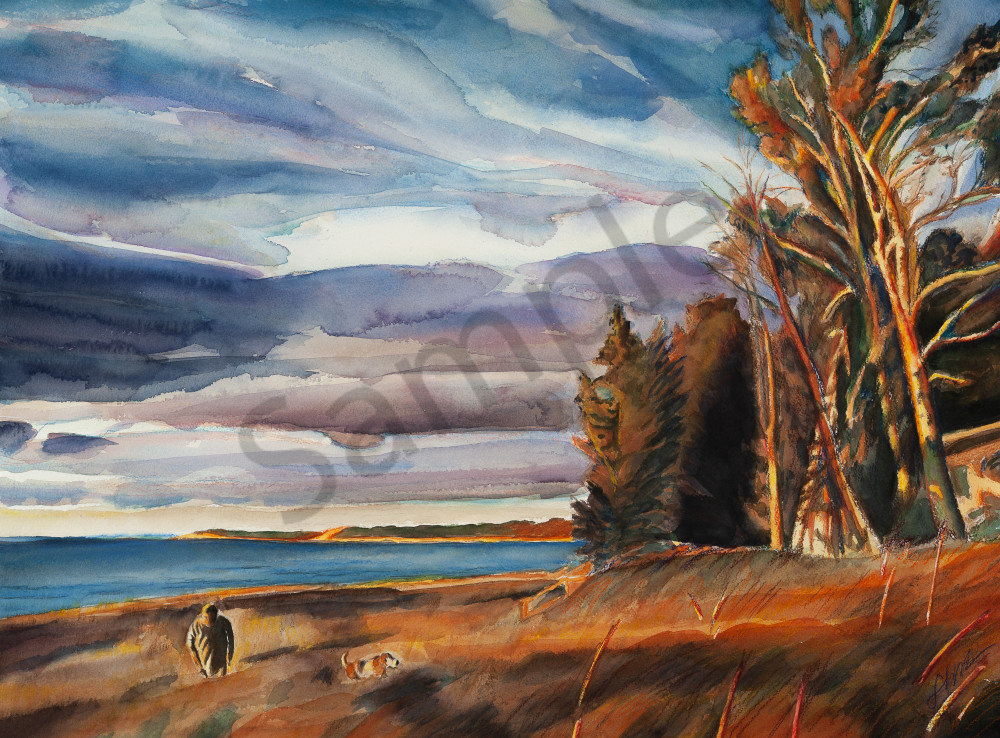 Golden-orange sunset over beautiful Lake Michigan. A man and his dog walk through the dune grass by their cottage. Available in paper and canvas. Print of watercolor original.