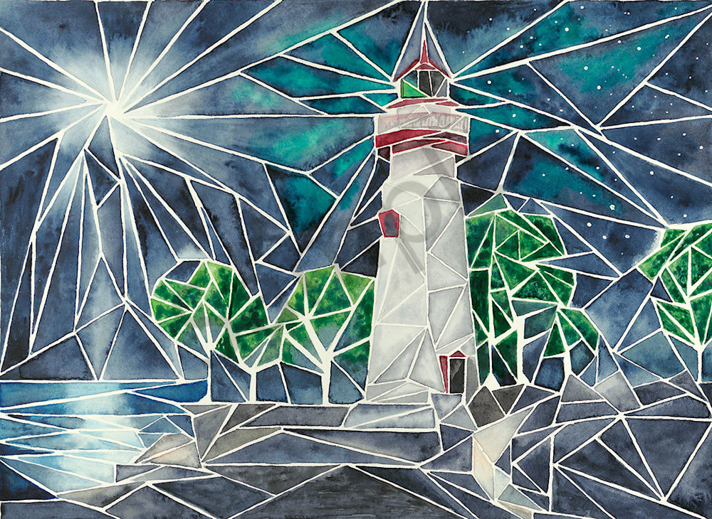 """Moon over Marblehead Light"" fine art print by Matthew Campbell."