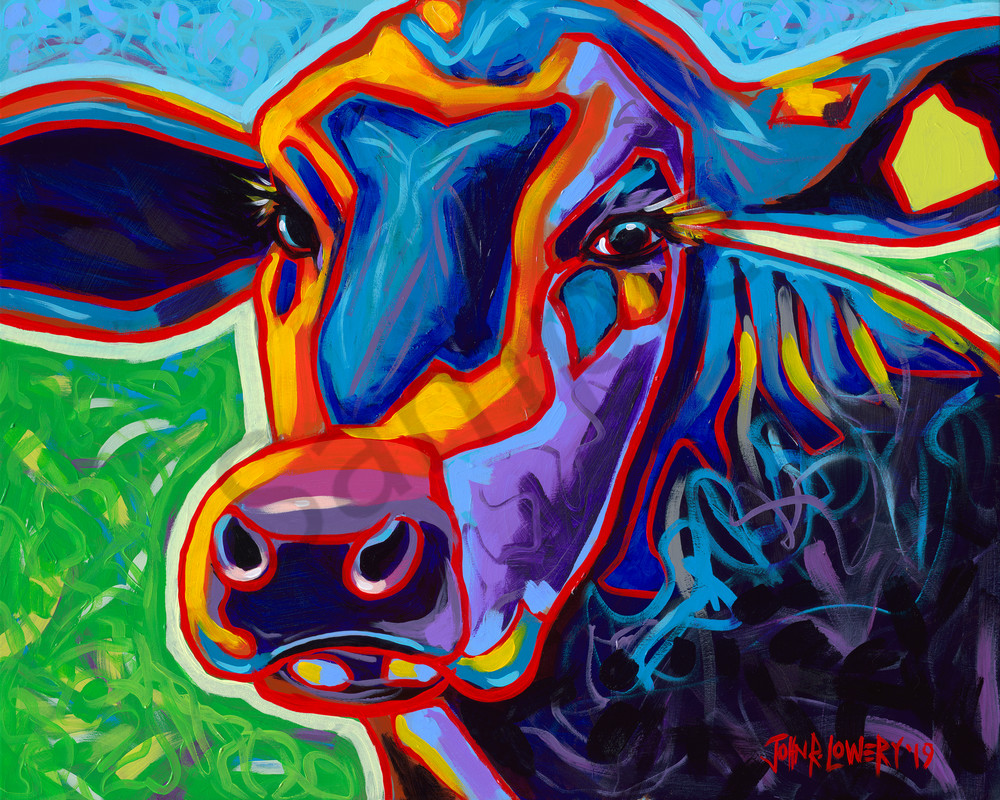 Colorful and modern painting of a cow face