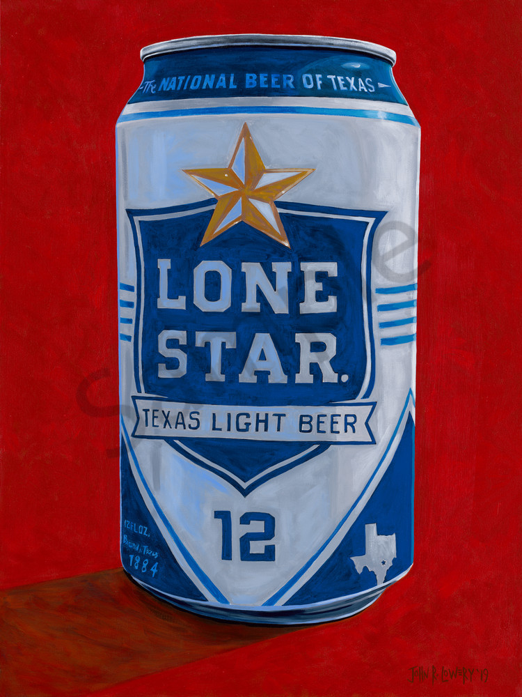 Painting of a Lone Star Light beer can.