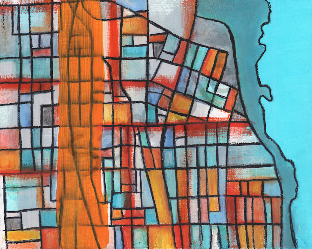 Evanston Map Print by Carland Cartography – Abstract Street Map of Chicago Neighborhoods