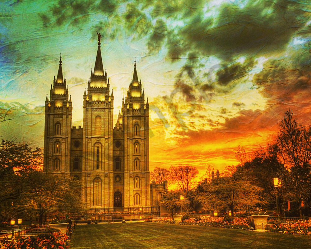 Salt Lake Temple Sunset Artistic Photography Art | Christensen Photography