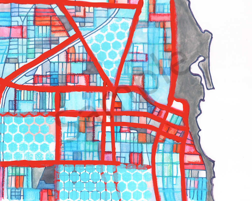 Evanston Artwork For Sale by Carland Cartography. Purchase Abstract City Street Maps