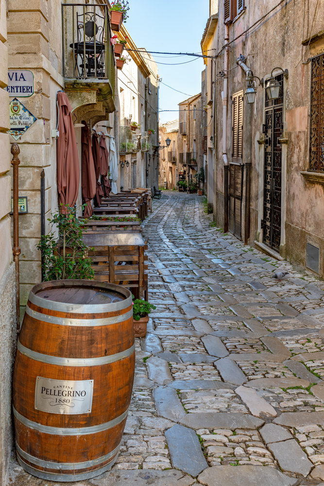 Saracen times, Castles, Medieval, Old Streets, Mountain Top Village, Erice, Sicily, Italy