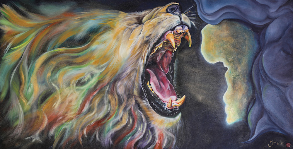 """Lion of Judah Roaring Over Africa"" by South African Artist Trudie Oosthuizen 