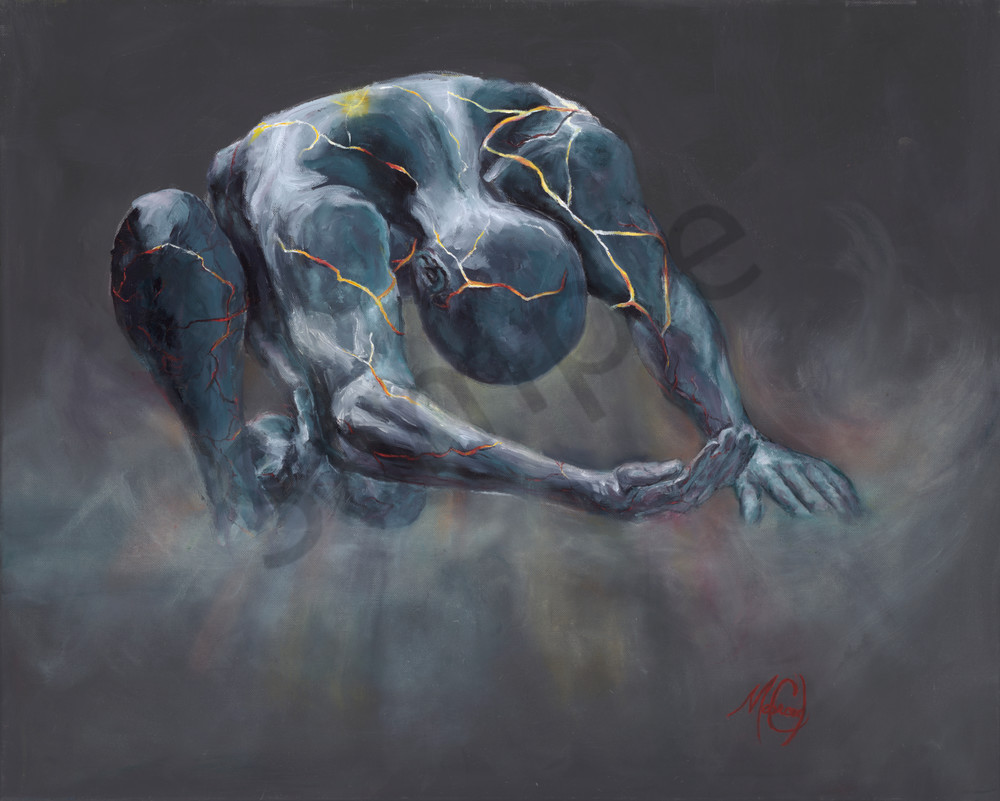 """""""Cracked Man Of Clay"""" by California Artist Mary Crawford 