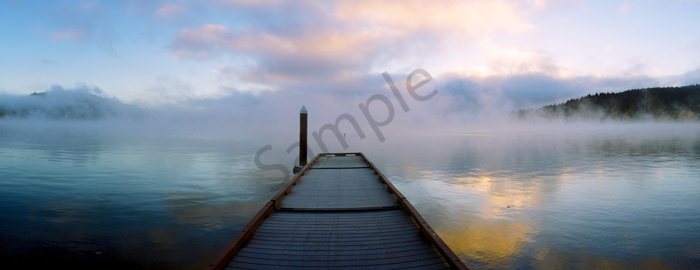 Beautiful panorama photograph from a dock on Dexter Lake, Oregon. Great wall decor for Oregon scenery lovers.