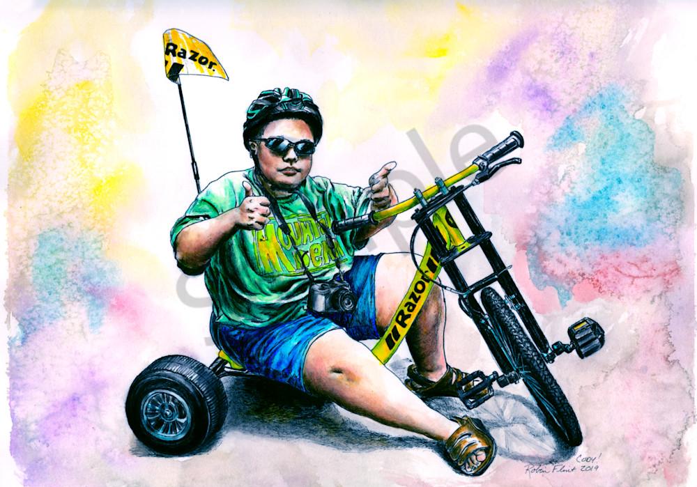 Inked Watercolor of Cody's Razor Trike