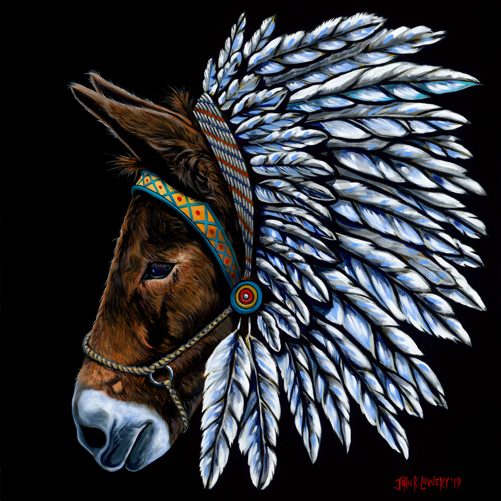 Painting of a mule wearing an indian headdress by John R. Lowery, available as art prints.