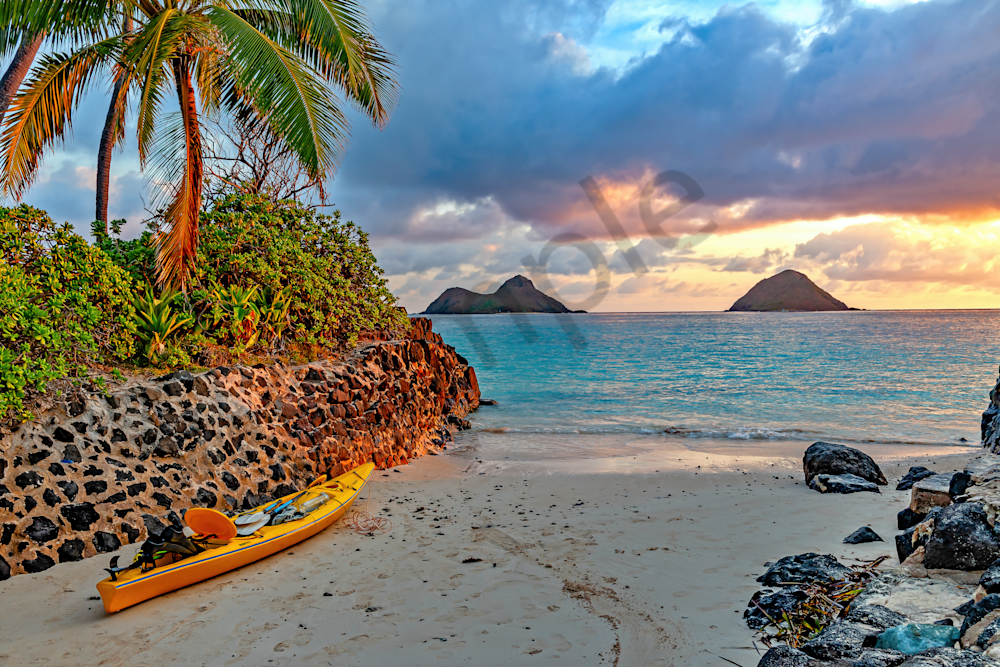 Art Print: The Mokes and Sunset, Lanikai, Hawaii | Louis Cantillo