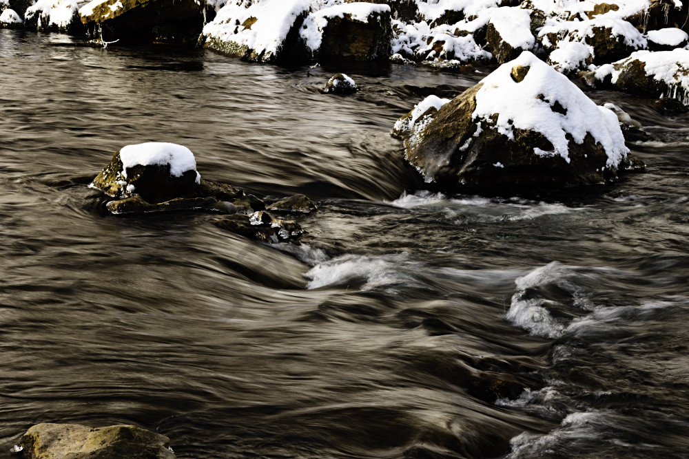Flowing Water In Winter Photography Art | LHR Images