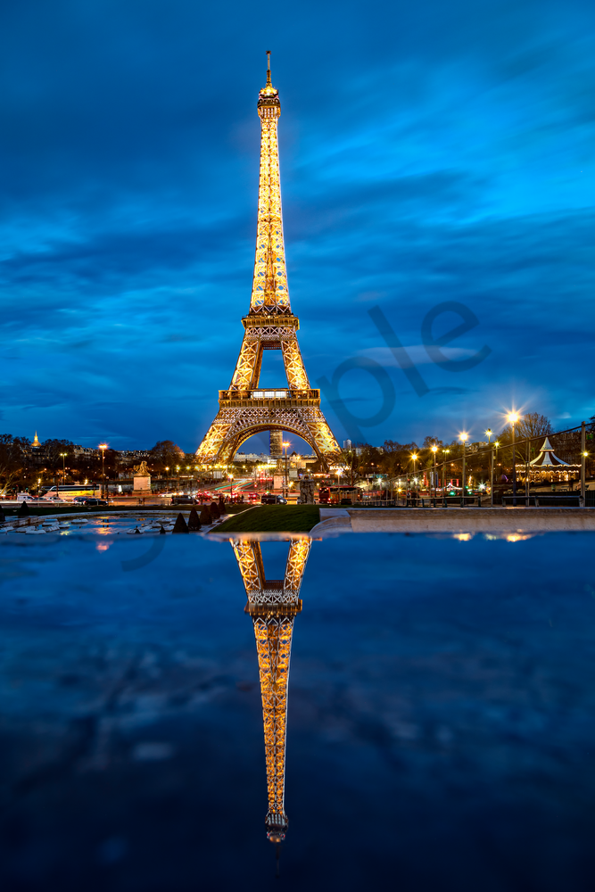 Art Print Anatole Paris France Eiffel Tower and Reflection