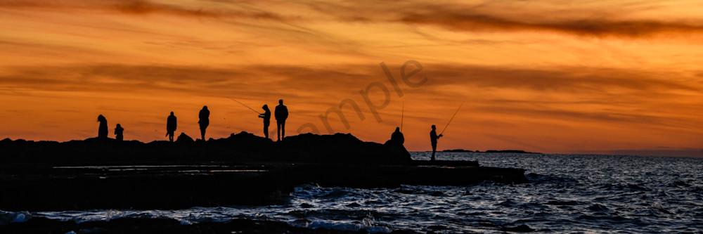 Sunset fishermen pano