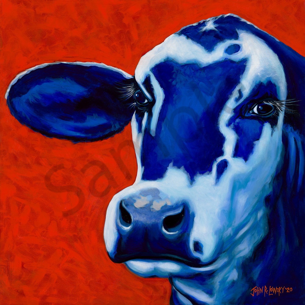 Colorful cow paintings by Texas artist, John R. Lowery, available as art prints.
