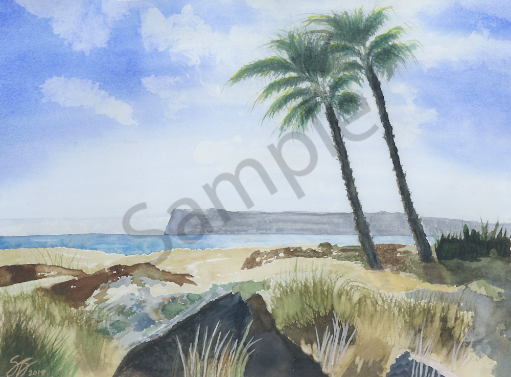 Coronado Palm Trees - Watercolor Painting 2018