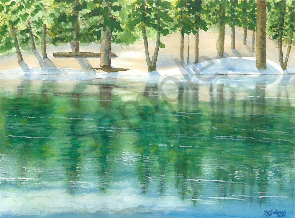 """Green Valley Lake Reflection"" ~ Watercolor Painting 2019"