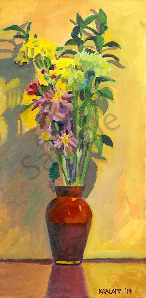"""Red Vase Bouquet on Yellow"" fine art print by Karl Kralapp."