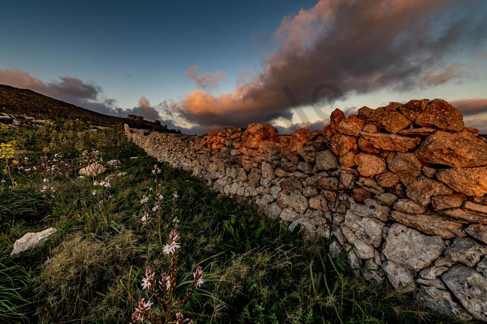 Old stone glowing wall