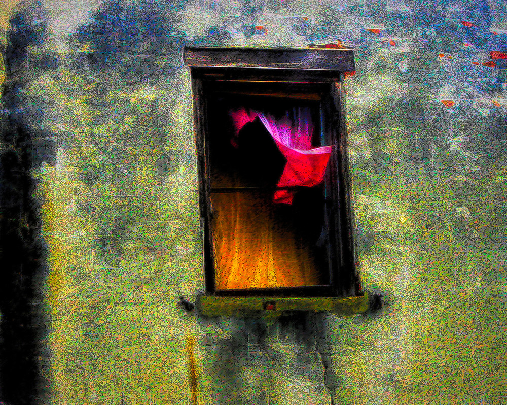 Pink Curtain Broken Window|Fine Art Photography by Todd Breitling