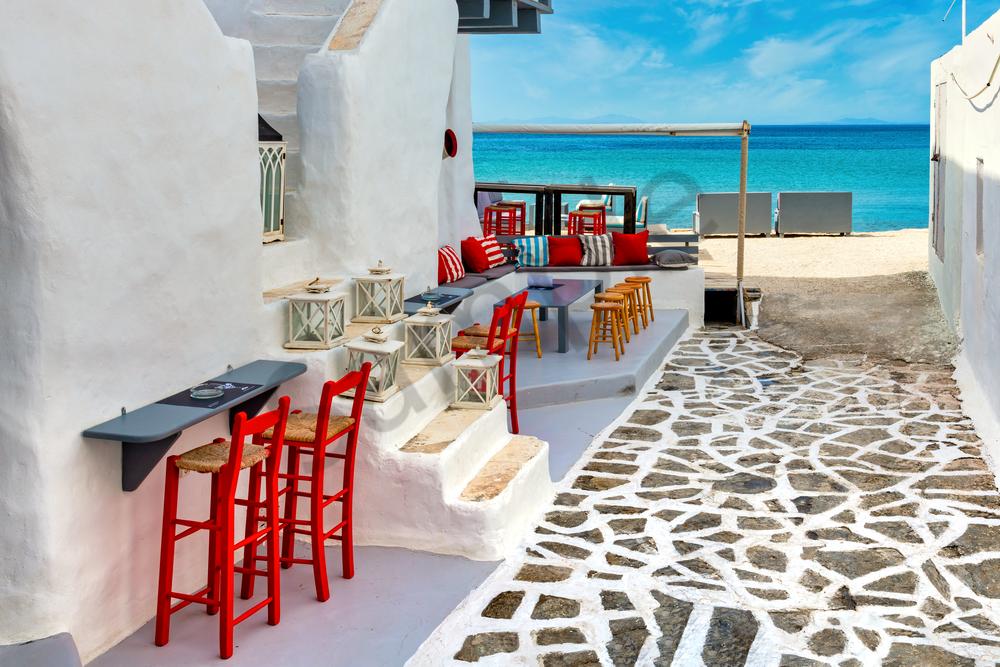 Art Print Naousa Paros Greece Beach Access