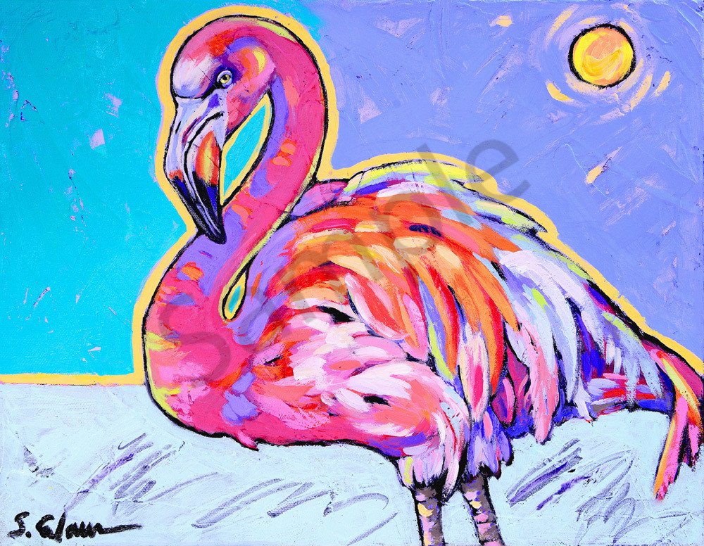 Flamingo Dances Under Sun