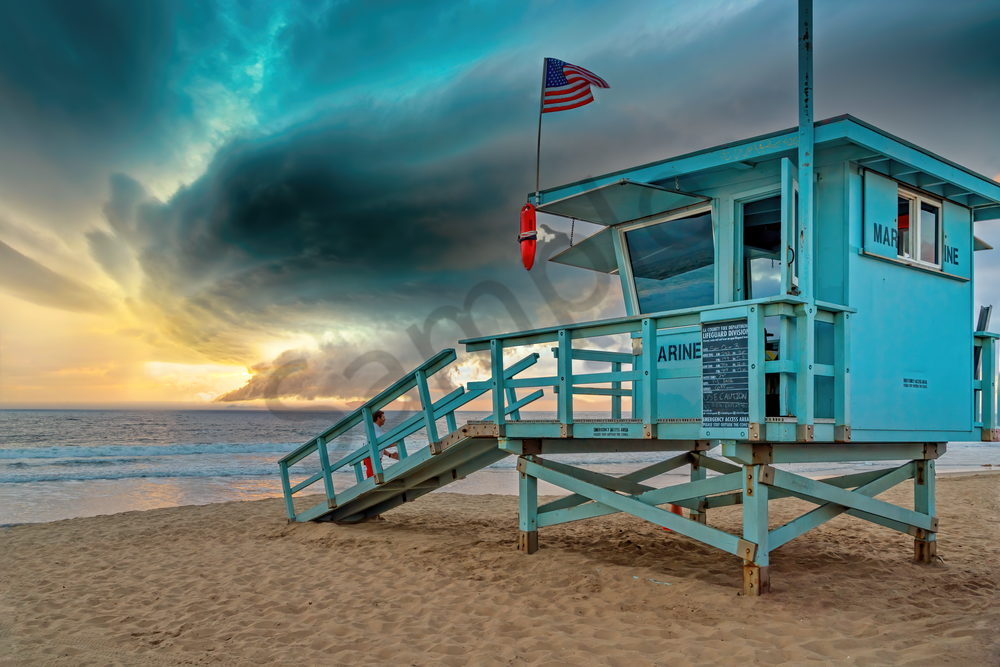 Art Print Santa Monica California Stormy Sky