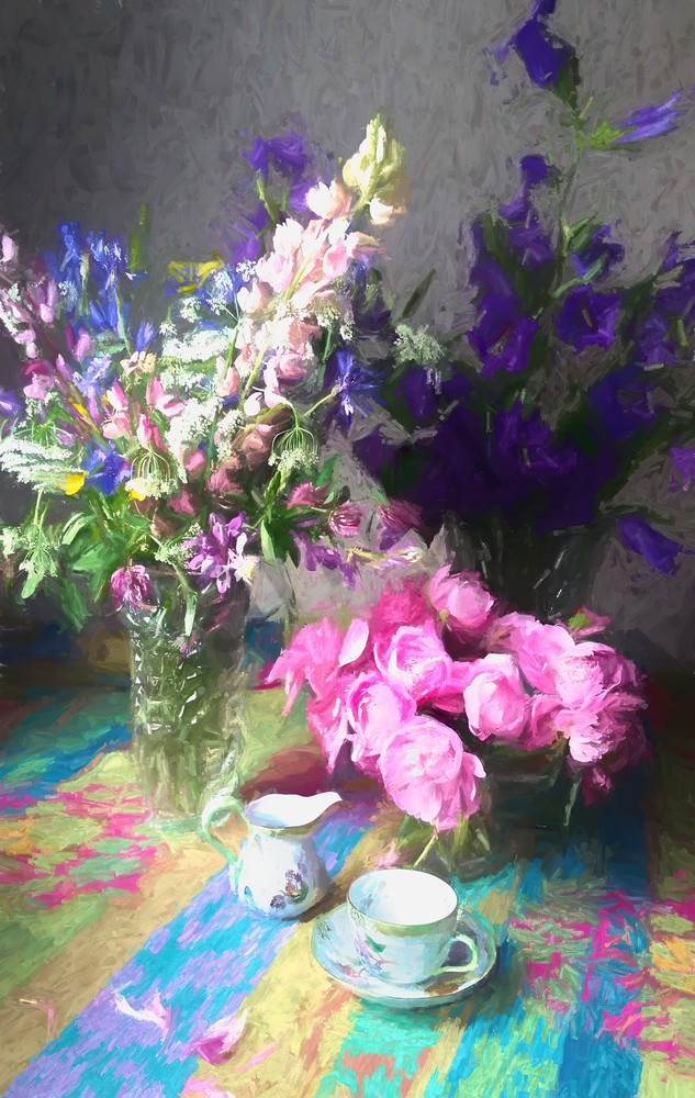 still life with tea cup peonies and flowers painting