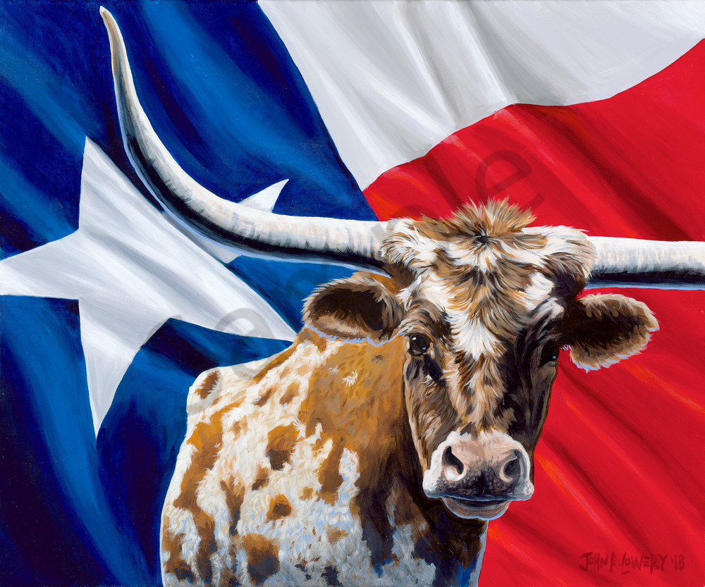 Longhorn and Texas flag paintings by John R. Lowery for sale as art prints