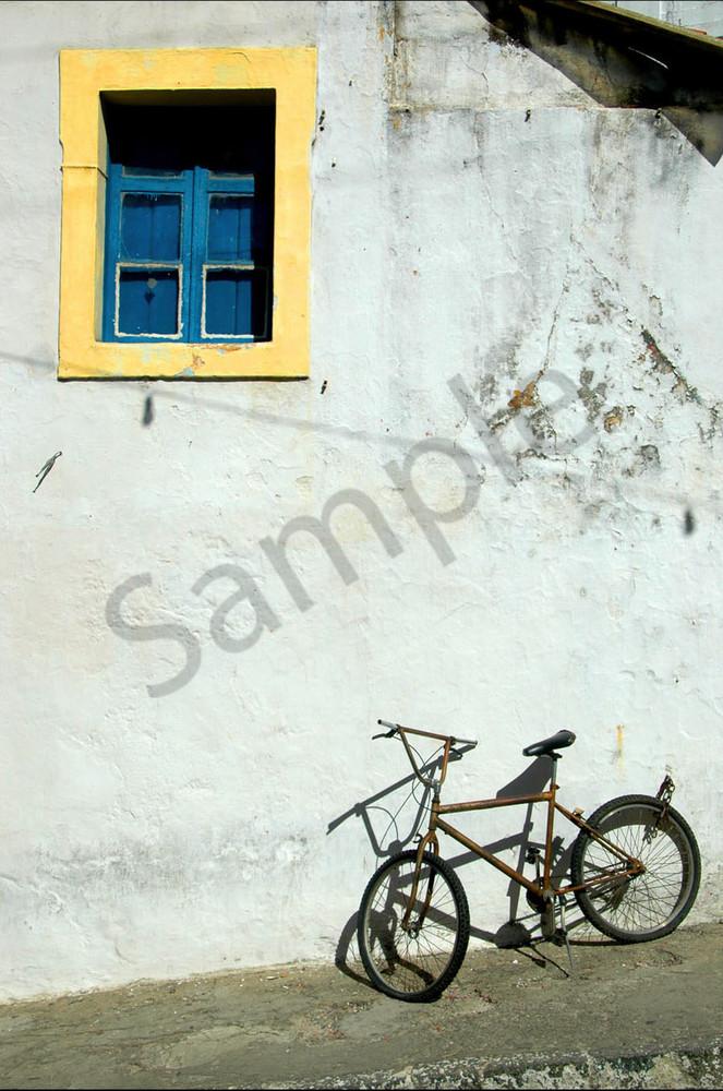 Bike under colorful window