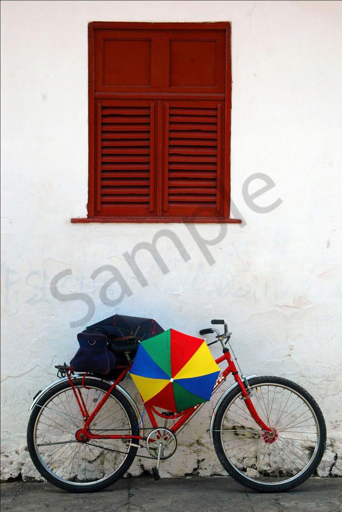 Bike with rainbow umbrella