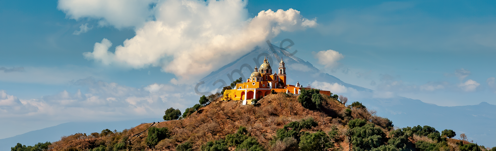 Art Print Popocatepetl Volcano Cholula Mexico Cholula Church