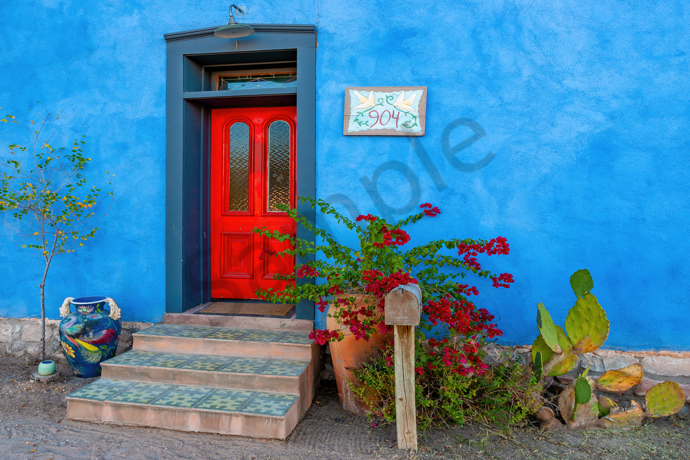 Art Print Tucson Arizona Rojo Door and Azul Wall