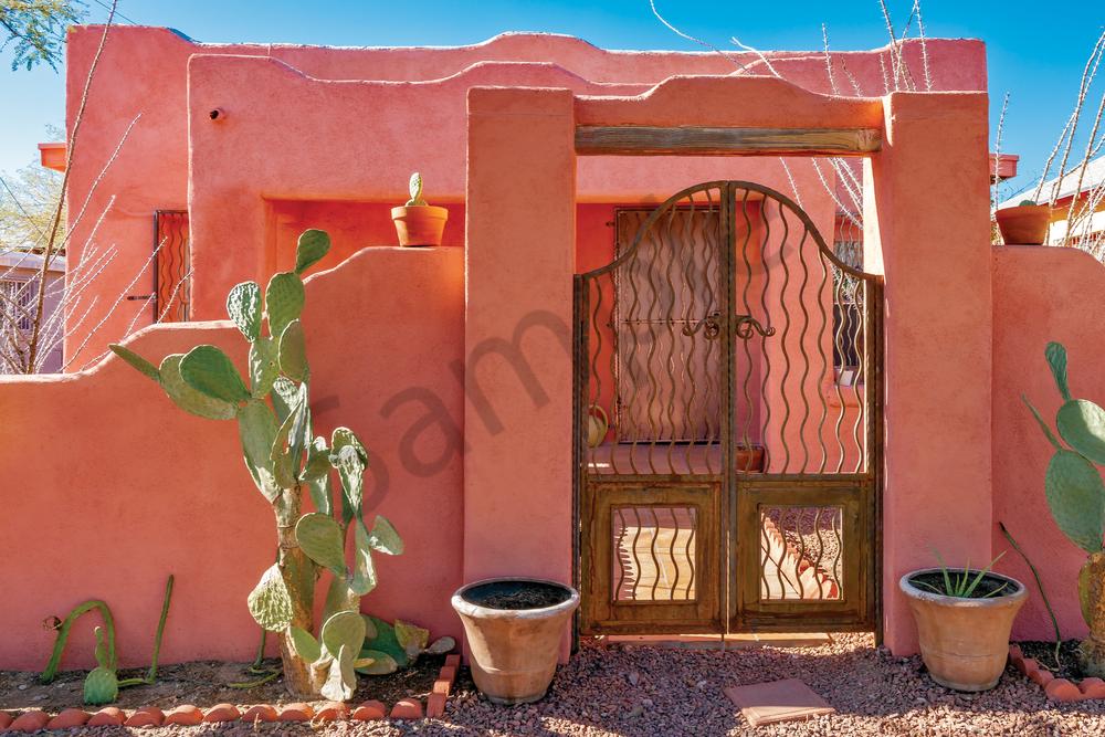Print Art Tucson Arizona Desert Pink House