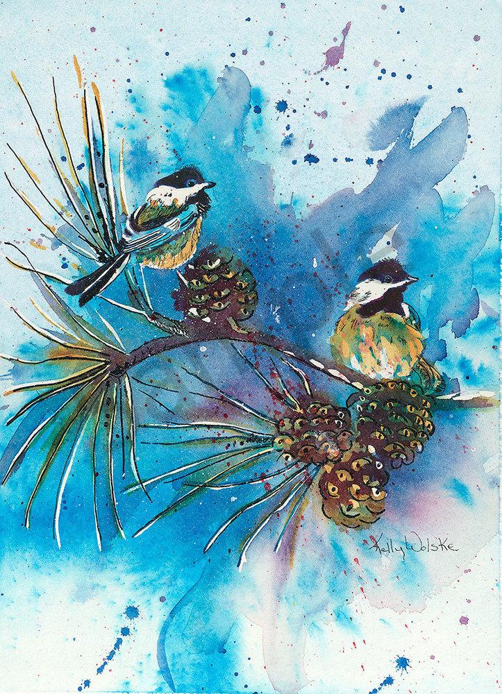 """""""Blue Chickadees"""" fine art print by Kelly Wolske."""
