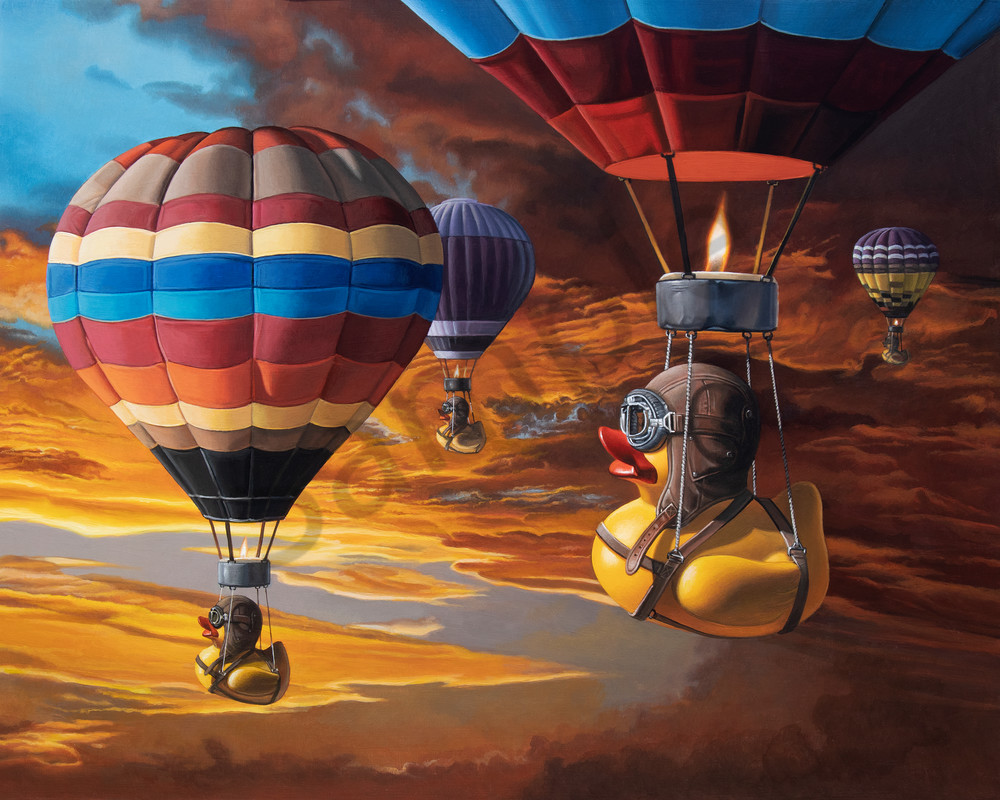 """Air Ducks"" shows rubber ducks hot air ballooning"