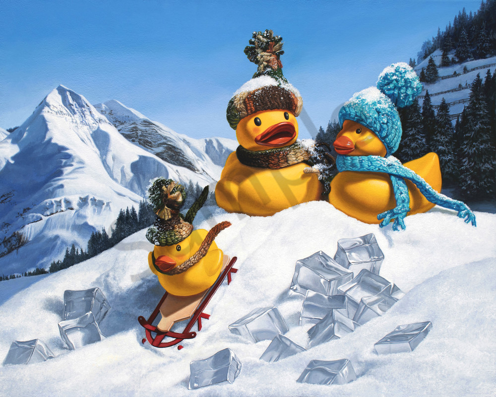 """Cold Duck"" shows rubber ducks sledding"