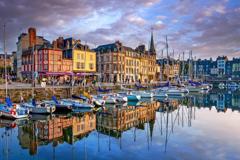 Print Art Honfleur Normandy France Old Harbor Reflections