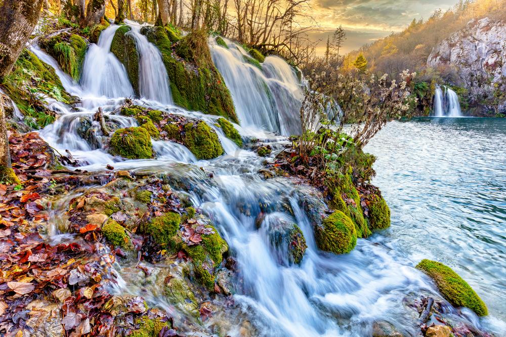 Print Art Plitvice National Park Croatia Flowing Waterfalls