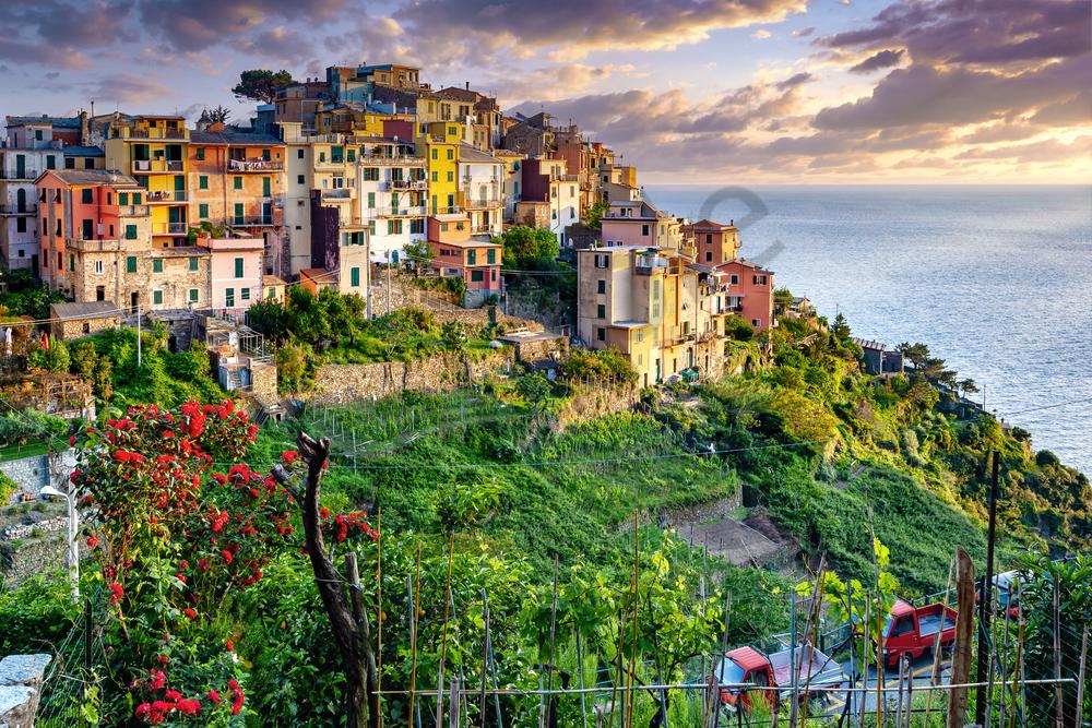 Art Print Corniglia Cinque Terre Italy Panoramic Hilltop