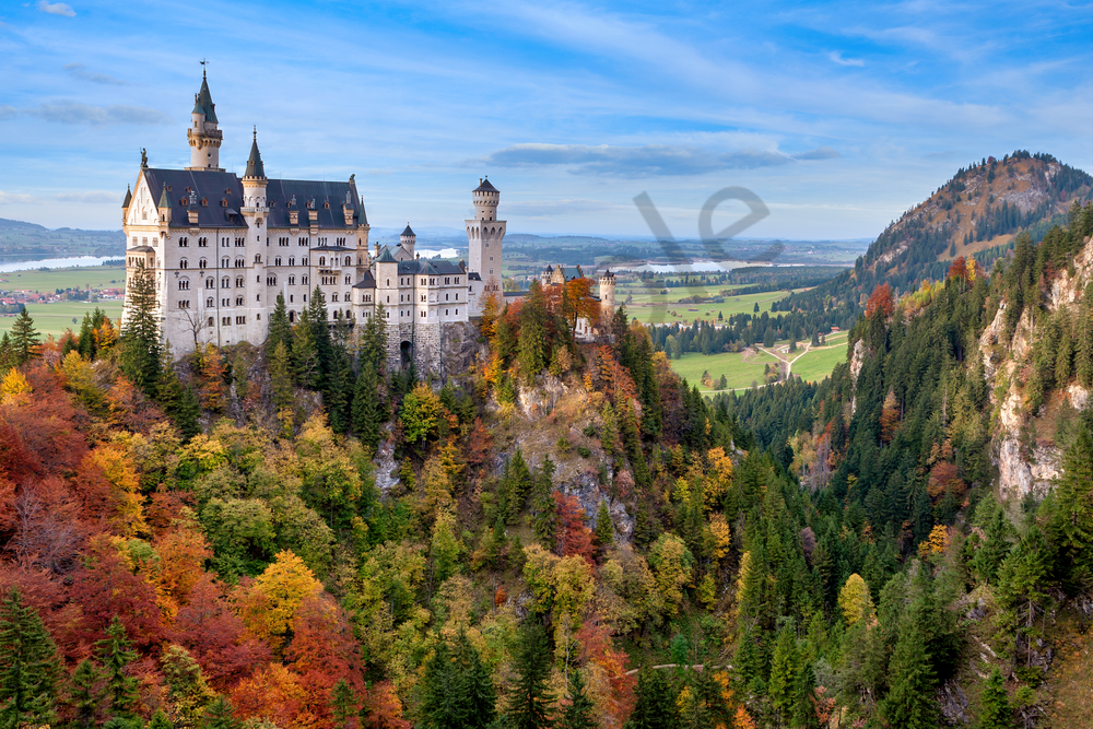 Print Art Neuschwanstein Castle Schwangau Germany Bavarian palace