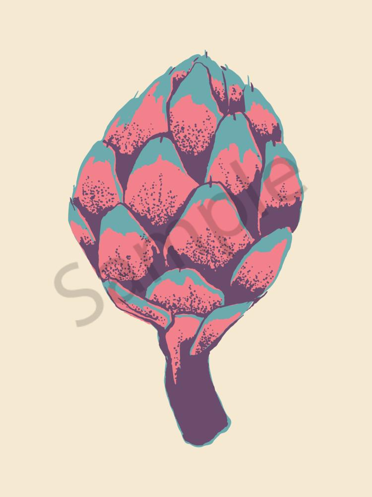 Artichokes Of Many Colors   Creamy Teal | Sunset Pink | Moody Purple Art | Davida Fernandez Studio