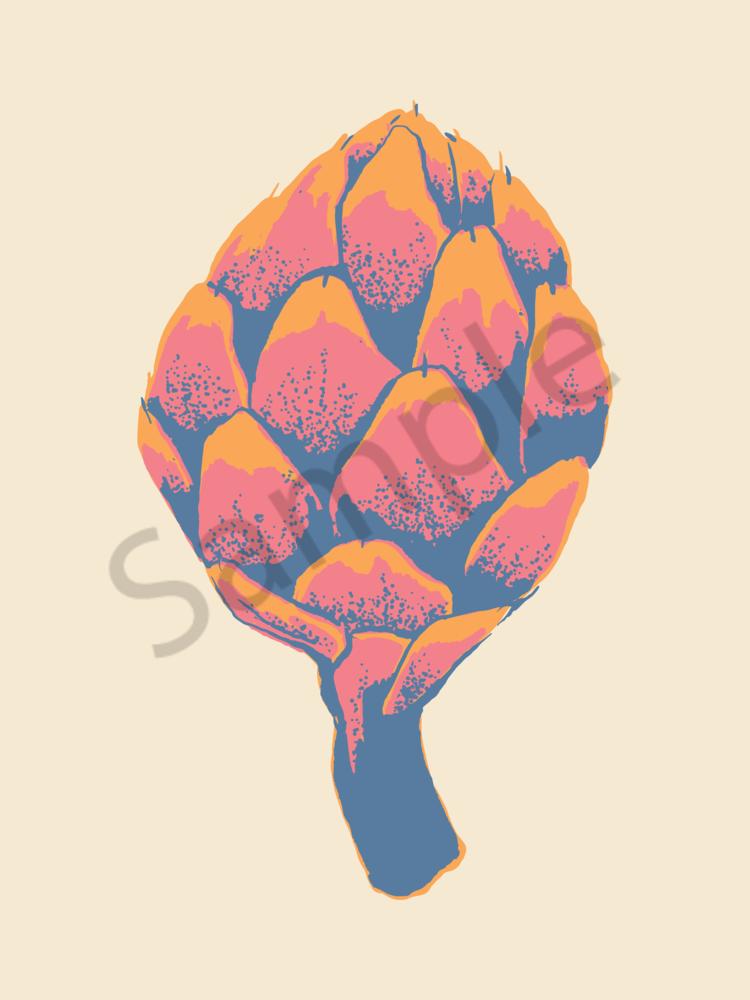 Artichokes Of Many Colors   Orange Cream   Sunset Pink   Horizon Blue Art   Davida Fernandez Studio