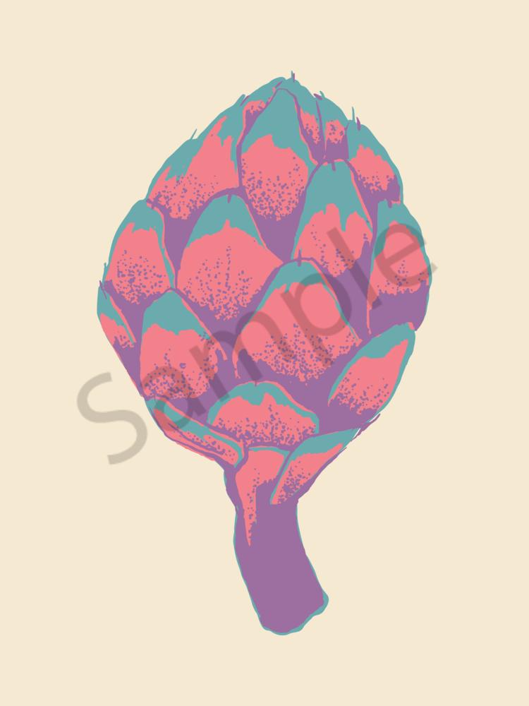 Artichokes Of Many Colors   Creamy Teal | Sunset Pink | Purple Glow   Art | Davida Fernandez Studio