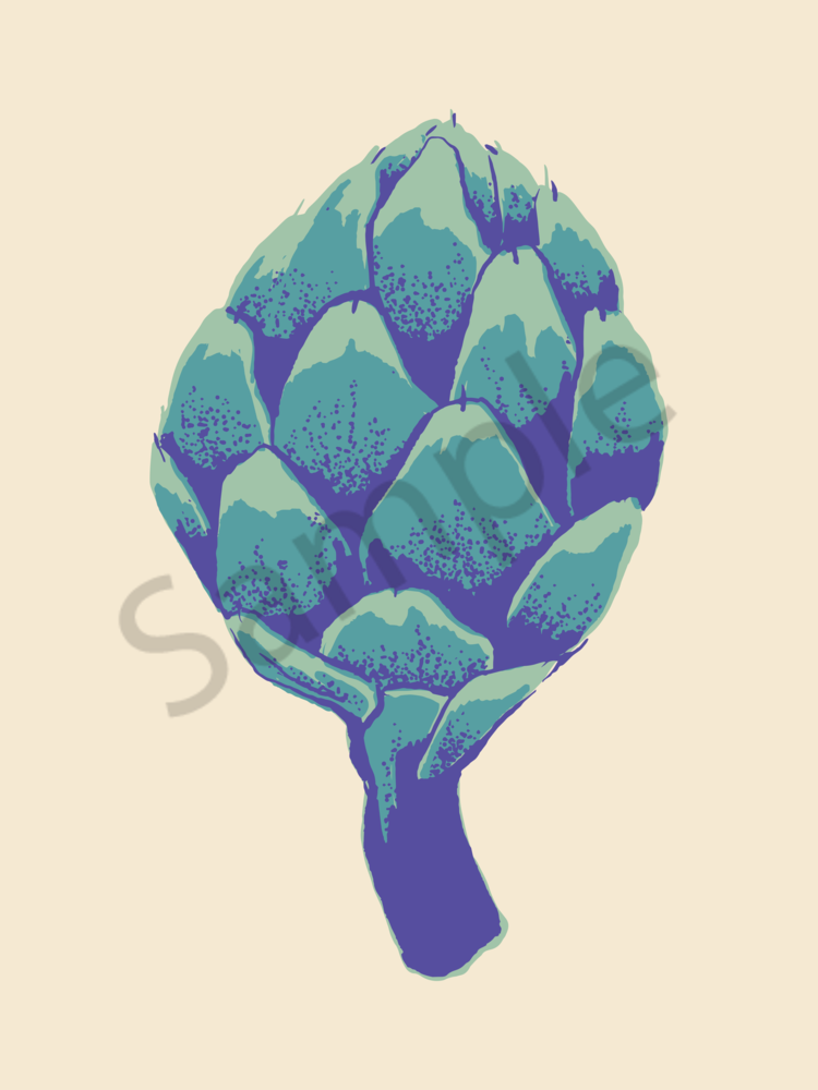Artichoke Of Many Colors   Soft Mint | Creamy Teal | Butterfly Bush Blue Art | Davida Fernandez Studio