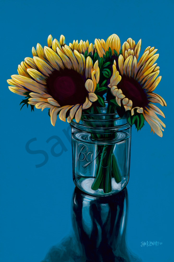 Sunflower paints by Texas artist, John R. Lowery available as art prints.