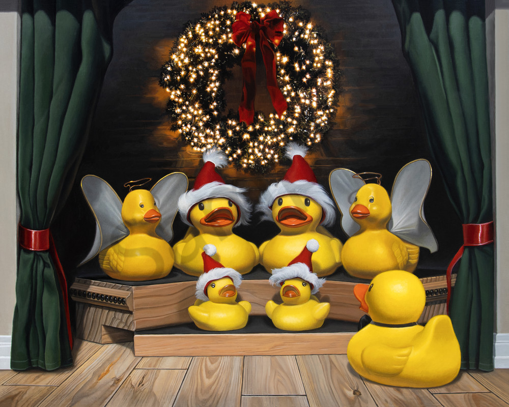 """""""Duck the Halls"""" print with rubber ducks by Kevin Grass"""