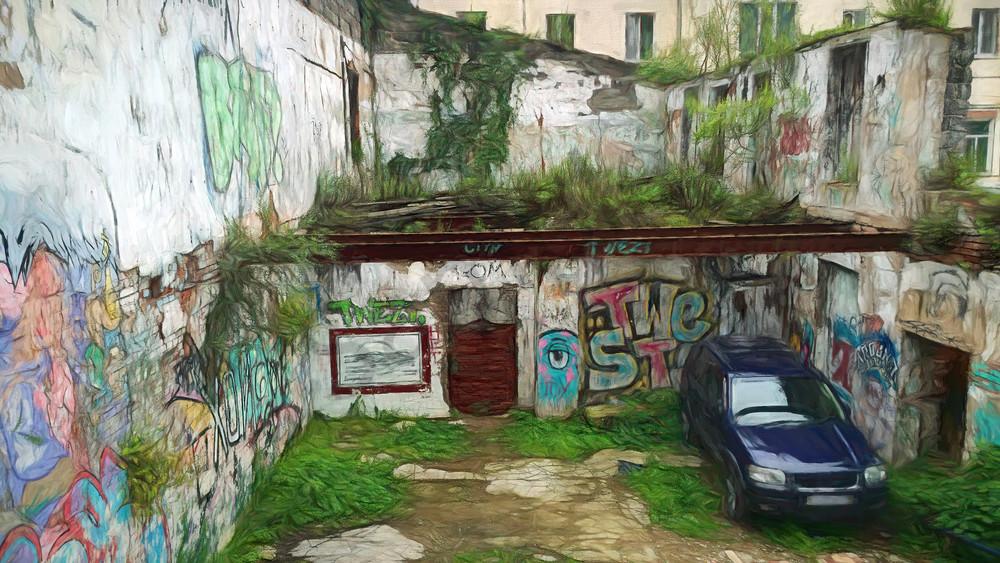 Wall Graffiti   Urban Decay Series Art   smalljoysstudio