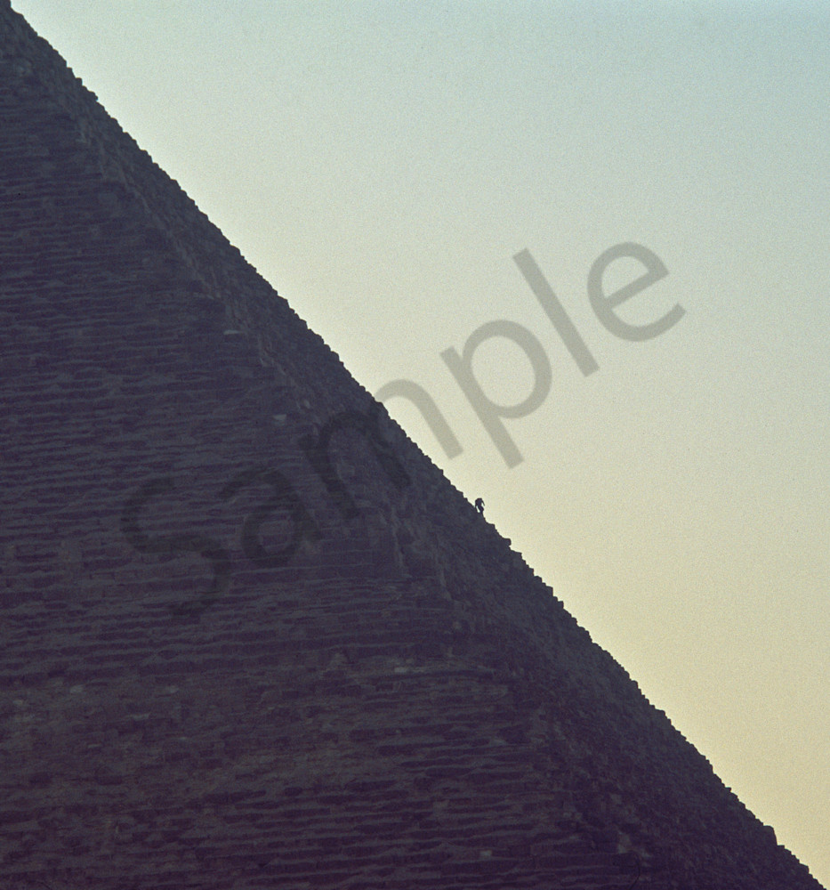 A visitor to the great pyramid at Giza in Egypt