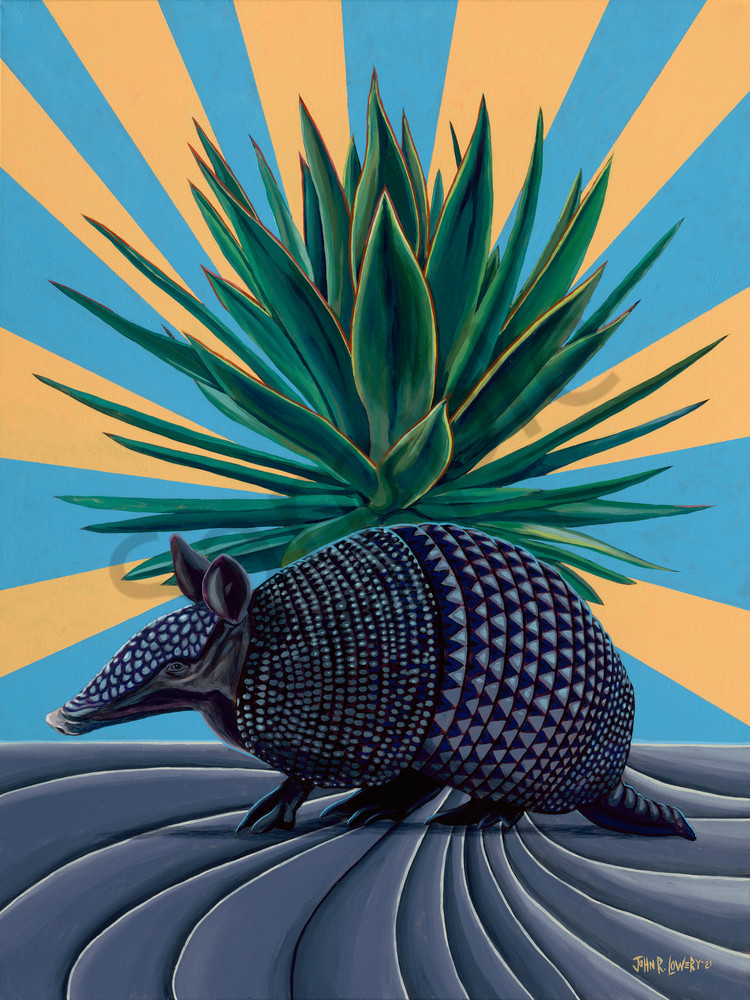 Colorful paintings featuring Texas landscapes and armadillos,  by John R Lowery sold as art prints.